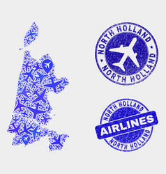 airflight collage north holland map and vector image