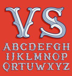 Alphabet in classic sport team style vector