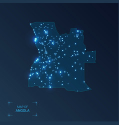 Angola map with cities luminous dots - neon vector
