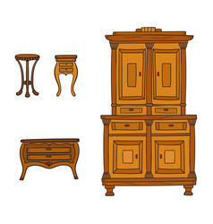 Antique furniture set - closet nightstand and vector