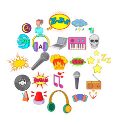 audio icons set cartoon style vector image