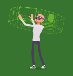 augmented reality man and virtual interface vector image