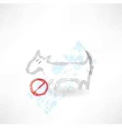 Ban dog grunge icon vector image