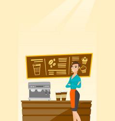 Barista standing near coffee machine vector