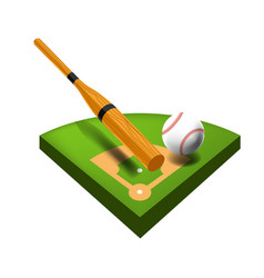 baseball field isolated icon bat and ball sport vector image