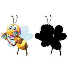 bee and its silhouette vector image