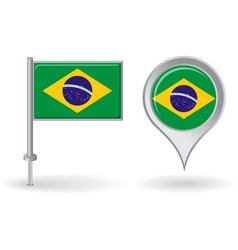 Brazilian pin icon and map pointer flag vector