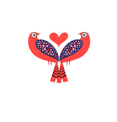 bright love birds with hearts vector image