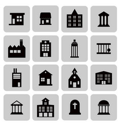 buildings real estate house icons for web and vector image