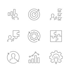 business strategy line icons on white background vector image