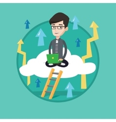 Businessman sitting on cloud with laptop vector