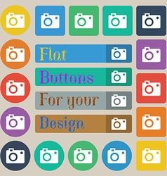 camera icon sign Set of twenty colored flat round vector image