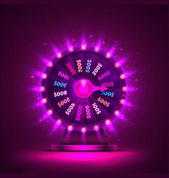casino neon colorful fortune wheel purple vector image