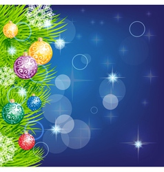 Christmas background with baubles and christmas vector