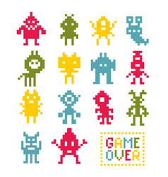 Collection of pixel monsters vector