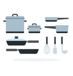 cooking pans and saucepan with a whisk and ladle vector image
