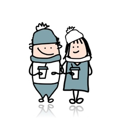 Couple walking with coffee cups cartoon for your vector