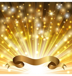 Curved gold ribbon vector