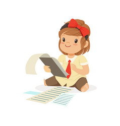Cute little girl businesswoman working with vector