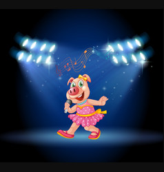 Cute pig singing and dancing on stage sith lights vector