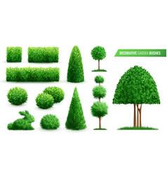 Decorative garden bushes icon set vector