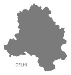 Delhi india map grey vector