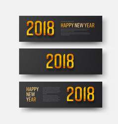 design of horizontal black banners happy new year vector image