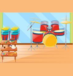 Different musical instruements in room vector