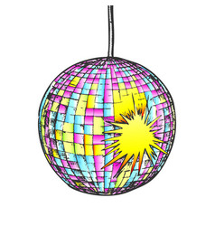 Disco ball night club equipment color vector
