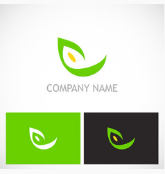 eco abstract green leaf logo vector image