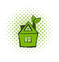 Eco house comics icon vector