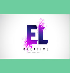 el e l purple letter logo design with liquid vector image