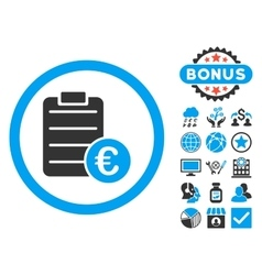 Euro Prices Flat Icon with Bonus vector image