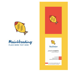 fish creative logo and business card vertical vector image