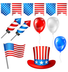 fourth of july independence day symbols set vector image