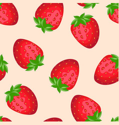 fresh red strawberries cartoon seamless pattern vector image