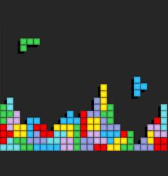 game tetris pixel bricks colorfull game background vector image