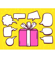Gift box with speech comics bubbles on ye vector