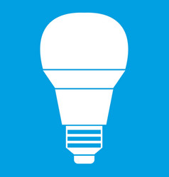 Glowing led bulb icon white vector