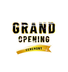 Grand opening poster design isolated white vector