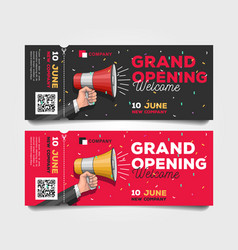 Grand opening tear-off flyer templates with vector