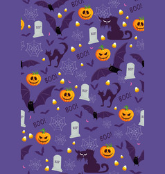 halloween pumpkin seamless pattern on purple vector image