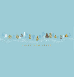 hand drawn blue and gold christmas tree vector image