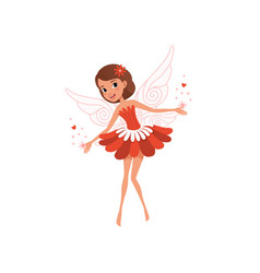 Happy flying fairy spreading magical dust cartoon vector
