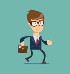happy running businessman vector image