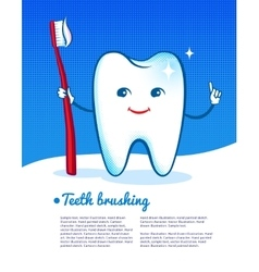 Happy tooth with toothbrush vector