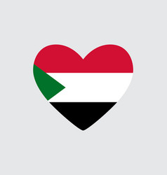 heart in colors of the sudan flag vector image