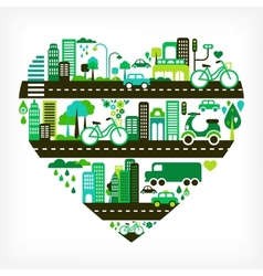 heart shape with green city vector image