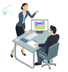 isometric office vector image
