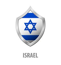 Israel flag on metal shiny shield vector
